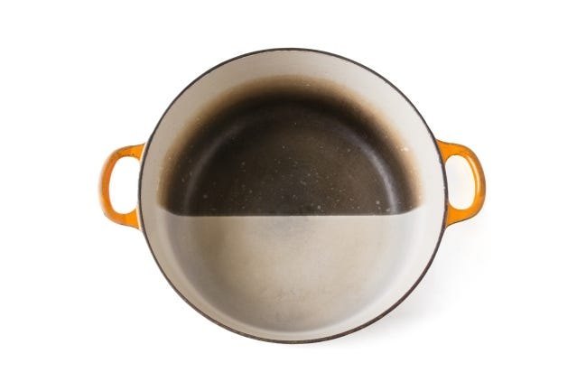 Chefs like Dutch ovens coated in light-colored enamel because it helps them judge doneness. Though these pans won't acquire seasoning like cast iron, their light surfaces can darken. To restore them, make a solution of one part bleach and three parts water and let the mixture soak in the pan overnight. [PHOTO PROVIDED/STEVE KLISE/AMERICA'S TEST KITCHEN]
