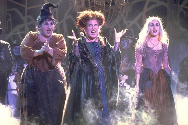 """From left, Kathy Najimy, Bette Midler and Sarah Jessica Parker star in the Halloween favorite film """"Hocus Pocus."""" [Disney photo]"""