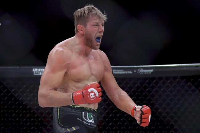 Jake Hager celebrates his win against J. W. Kiser in their mixed martial arts heavyweight bout at Bellator 214 on Jan. 26, 2019, in Inglewood, Calif. [AP Photo/Chris Carlson]