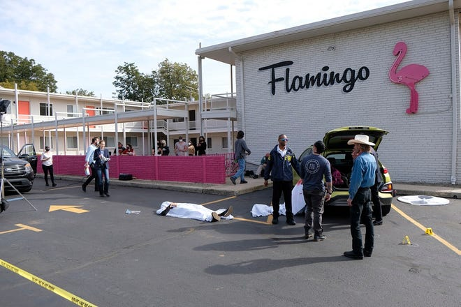 """Cast and crew work on the set of the Oklahoma film """"Out of Exile"""" at the Flamingo Apartments on NW 23 St. Thursday, October 15, 2020. [Doug Hoke/The Oklahoman]"""