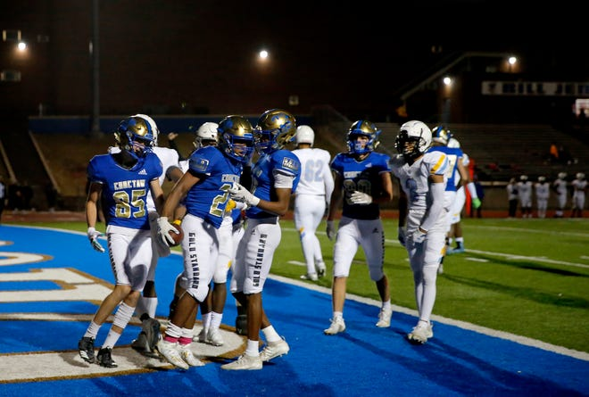 Choctaw's Daymon Jackson celebrates a touchdown during the high school football game between Choctaw and Putnam City West at Choctaw High School in Choctaw, Okla., Friday, Oct. 30, 2020. Photo by Sarah Phipps, The Oklahoman