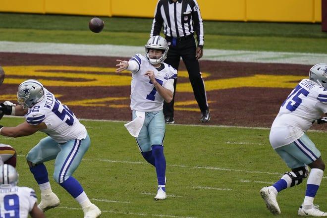 Dallas Cowboys quarterback Ben DiNucci (7) throws downfield in the second half against Washington. [AP Photo/Patrick Semansky]