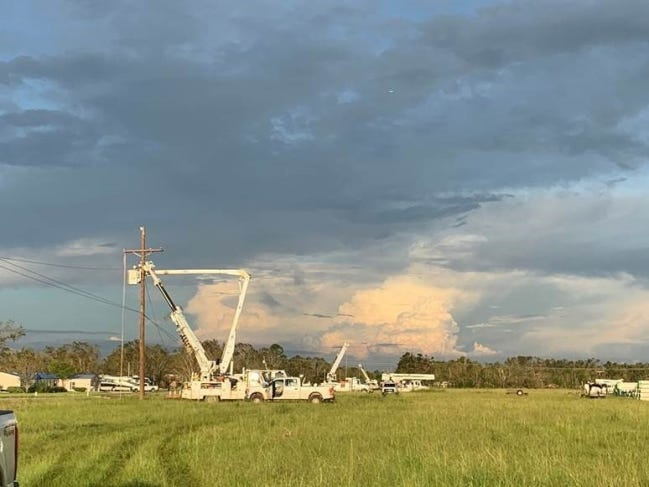 Crew members from Mammoth Energy Services' infrastructure division work to restore power on the Gulf Coast after Hurricane Laura earlier this year. [PROVIDED BY MAMMOTH ENERGY SERVICES]