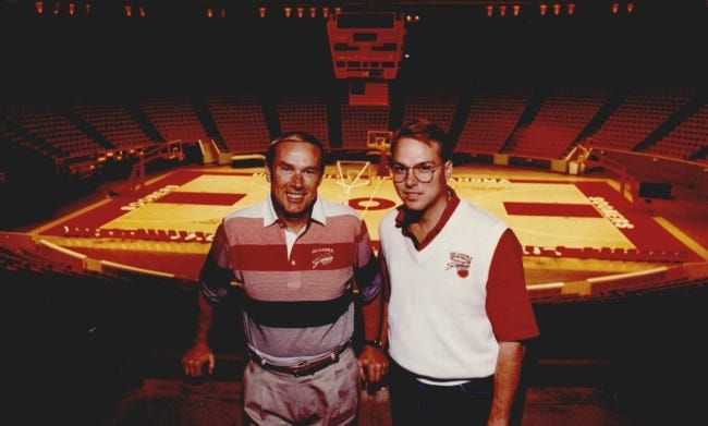 Late OU men's basketball coach Billy Tubbs (left) poses for a photo in 1990 with his son and assistant Tommy Tubbs at Lloyd Noble Center in Norman. [DOUG HOKE/THE OKLAHOMAN]