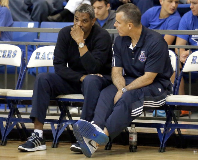 Billy Donovan talks with Maurice Cheeks during the Oklahoma City Thunder Blue & White scrimmage at Newcastle High School in Newcastle, Okla., Sunday, Oct. 4, 2015. Photo by Sarah Phipps, The Oklahoman