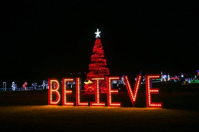 Large, lighted displays line the winding paths during Yukon's Christmas in the Park. [PHOTO PROVIDED]