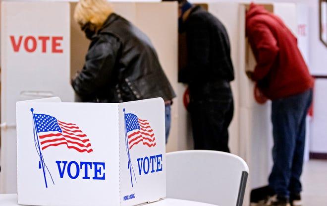 Voters fill out ballot at the Shields Boulevard Baptist Church in Oklahoma City, Okla. on Tuesday, Nov. 3, 2020. [Chris Landsberger/The Oklahoman]