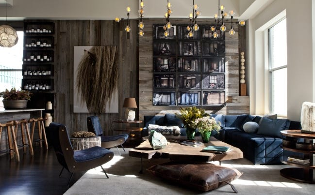 Designer James Huniford paired reclaimed wood and plush velvet to create the kind of design tension that can hold rooms like this together. [PHOTO PROVIDED/NICK JOHNSON]