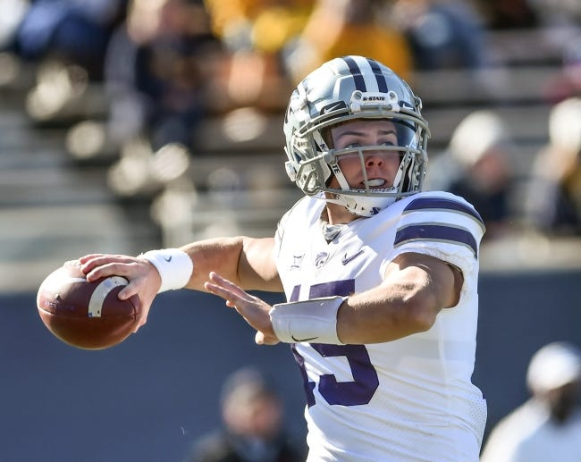Kansas State quarterback Will Howard has passed for 741 yards this season. [William Wotring/The Dominion-Post via AP]