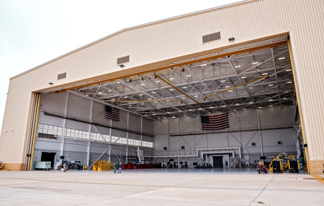 A large maintenance hanger is shown at Tinker Air Force Base, which on Thursday declared a health emergency due to a surge in COVID-19 cases. [Chris Landsberger/The Oklahoman]