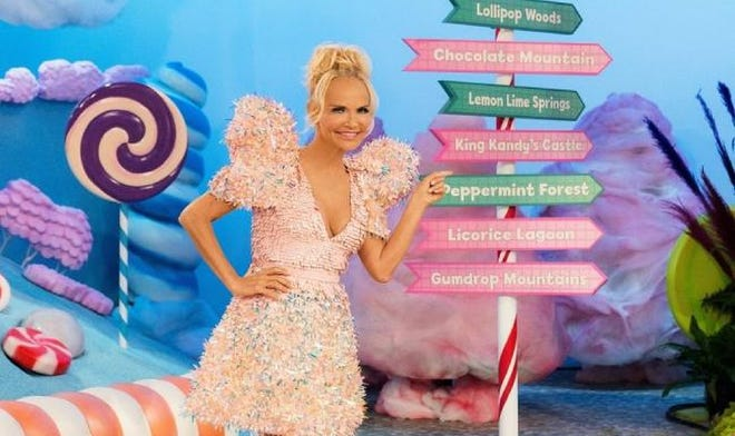 """Kristin Chenoweth hosts the new Food Network competition series """"Candy Land,"""" based on the classic board game. """"Candy Land"""" premieres at 8 p.m. Nov. 15. [Food Network photo]"""