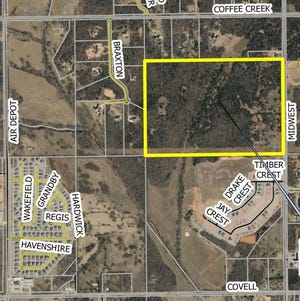 The rectangle outlines the 110 acres that would be Arcadia Peak, on the west side of Midwest Boulevard, south of Coffee Creek Road in Edmond. [IMAGE PROVIDED/CITY OF EDMOND]