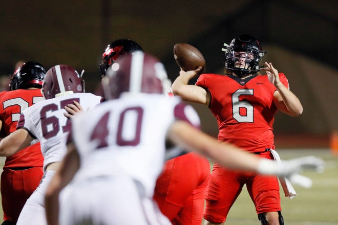 Westmoore's Dayton Wolfe throws a pass during a high school football game between Westmoore and Jenks in Moore, Okla., Thursday, Nov. 5, 2020. [Bryan Terry/The Oklahoman]