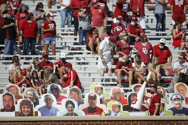 Oklahoma fans watch during a college football game between the University of Oklahoma Sooners (OU) and the Kansas State Wildcats at Gaylord Family-Oklahoma Memorial Stadium in Norman, Okla., Saturday, Sept. 26, 2020. Kansas State won 38-35. [Bryan Terry/The Oklahoman]