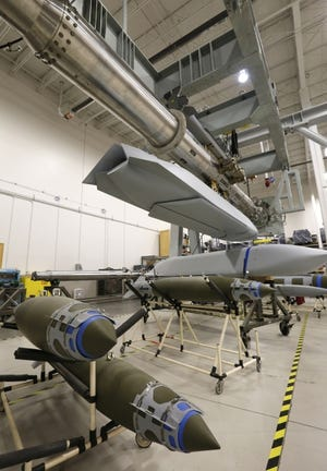 Testing is being done on a rotary launcher for a bomber at a Boeing plant at SW 59 and Air Depot Blvd. in this 2016 photo. [THE OKLAHOMAN ARCHIVES]