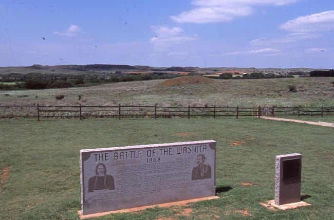 Historical markers at Washita Battlefield National Historic Site. [Jim Argo/Jim Argo Collection, OHS]