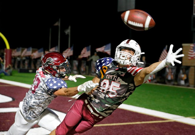 Tuttle's Hunter Anderson can not make a reception as Blanchard's Lincoln Smith defends during the high school football game between Blanchard and Tuttle at Blanchard High School in Blanchard, Okla., Friday, Nov. 6, 2020. [Sarah Phipps/The Oklahoman]