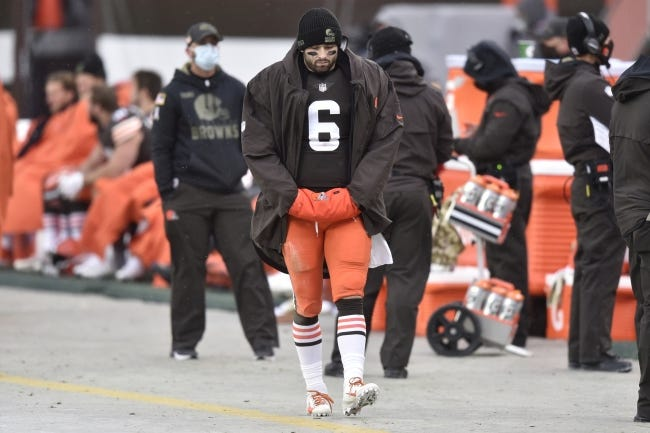 Cleveland Browns quarterback and former OU star Baker Mayfield (6) walks on the sideline during a Nov. 1 game against the Las Vegas Raiders. Mayfield was placed on the reserve/COVID-19 list on Sunday. [AP Photo/David Richard]