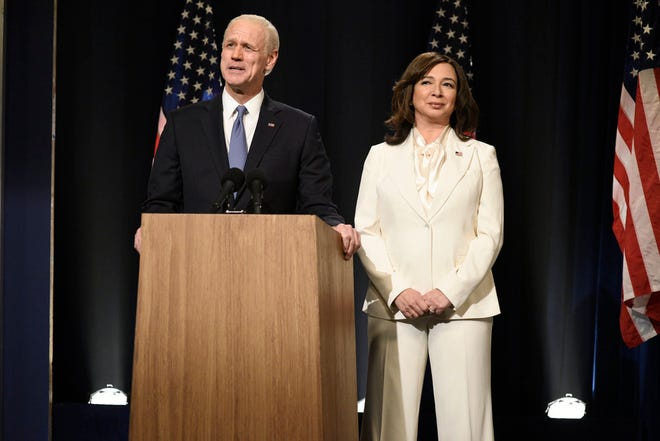 "Jim Carrey as Joe Biden and Maya Rudolph as Kamala Harris during the ""Saturday Night Live"" cold open on Saturday, November 7, 2020. [Photo by: Will Heath/NBC]"