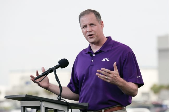 NASA Administrator Jim Bridenstine speaks during a news conference earlier this year. [AP Photo]