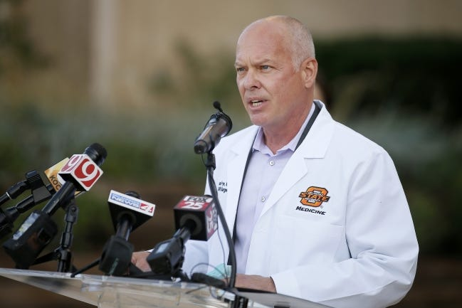 Health Commissioner Dr. Lance Frye advises Gov. Kevin Stitt on the coronavirus pandemic. Frye, who previously served as the state air surgeon for the Oklahoma Air National Guard, speaks at a press conference outside Mercy Hospital in Oklahoma City, Tuesday, Oct. 20, 2020. [Bryan Terry/The Oklahoman]