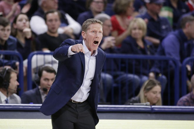 Gonzaga will begin the college basketball season No. 1 for the first time after coach Mark Few's bunch earned 28 first-place votes in the preseason AP Top 25 poll released Monday. [AP Photo/Young Kwak, File]