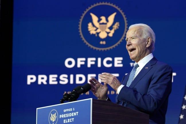 President-elect Joe Biden speaks Monday in Wilmington, Del. [AP Photo/Carolyn Kaster]
