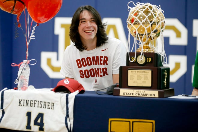 Kingfisher basketball player Bijan Cortes smiles during a signing day ceremony at Kingfisher High School, Wednesday, Nov. 11, 2020. [Bryan Terry/The Oklahoman]