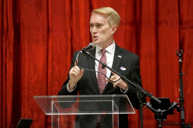 Sen. James Lankford speaks during a Republican Party election night watch party in Edmond on Nov. 3. [Bryan Terry/The Oklahoman]