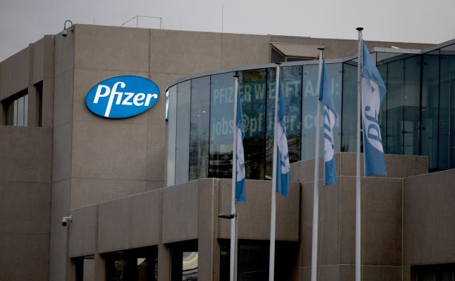Pfizer Manufacturing Belgium is shown recently in Puurs, Belgium. Pfizer said Monday that early results from its coronavirus vaccine suggest the shots may be a surprisingly robust 90% effective at preventing COVID-1. [AP Photo/Virginia Mayo]