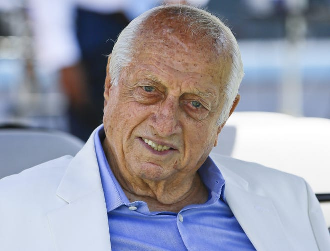 Former Dodgers manager and Hall of Famer Tommy Lasorda attends a news conference in 2018. The Dodgers said Sunday, that their 93-year-old former manager was in intensive care and resting comfortably at a hospital in Orange County, Calif. [AP Photo/Damian Dovarganes]