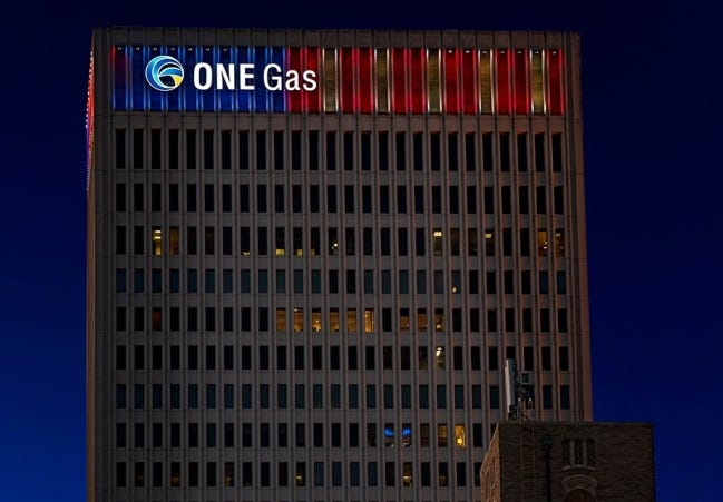 ONE Gas corporate headquarters at night. [PROVIDED]