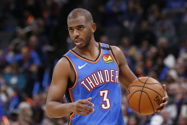 Oklahoma City traded point guard Chris Paul to the Phoenx Suns on Monday for several players and a No. 1 draft pick. [AP Photo/Sue Ogrocki, File]
