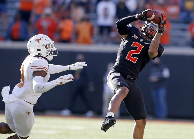 Oklahoma State receiver Tylan Wallace (2) hasn't played since the Oct. 31 game against Texas. [SARAH PHIPPS/THE OKLAHOMAN]