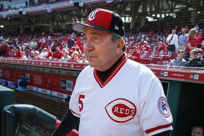 Former Cincinnati Reds catcher Johnny Bench has decided to sell memorabilia from his Hall of Fame career. He plans to use the proceeds to help fund the future college educations of his two youngest sons. Among the items he's parting with are his World Series trophies from 1975 and '76, and his 1968 NL Rookie of the Year award. [AP Photo/Gary Landers, File]