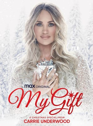 """HBO Max will spread holiday cheer with the Dec. 3 debut of Oklahoma native and country music superstar Carrie Underwood's new music special """"My Gift: A Christmas Special From Carrie Underwood."""" [Poster image provided]"""
