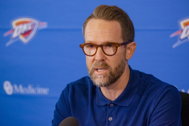 Thunder general manager Sam Presti enters Wednesday's NBA Draft with three selections to make in the two-round event. [Chris Landsberger/The Oklahoman]