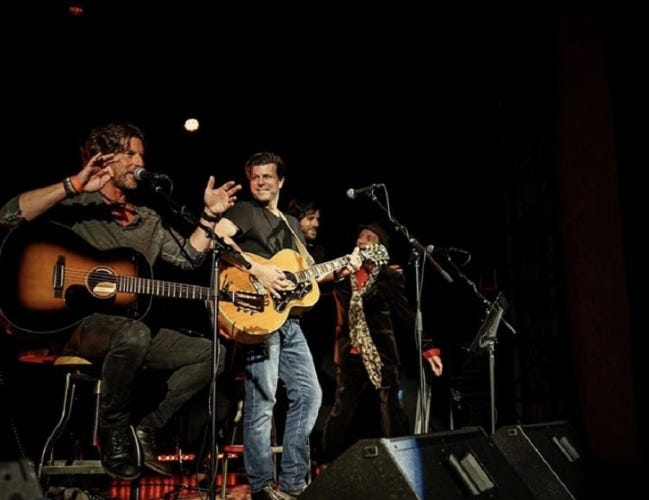 From left, Brett James, Zac Maloy, Graham Colton and Tyson Meade share the stage during the 2019 Oklahoma Songwriters Festival. [Photo provided]