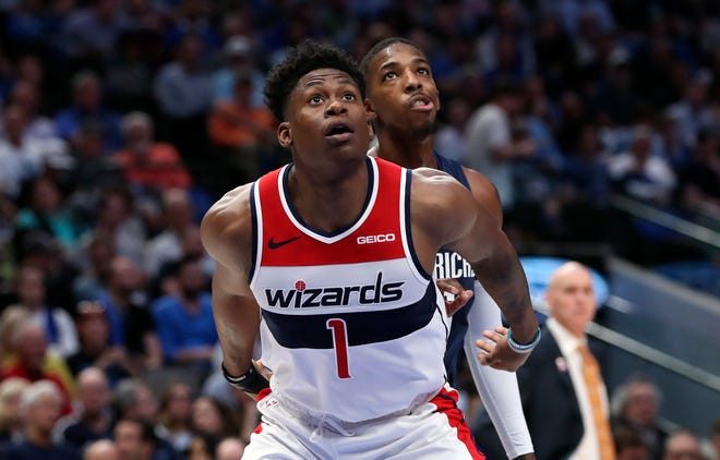 Oct 23, 2019; Dallas, TX, USA; Washington Wizards guard Admiral Schofield (1) in action during the game against the Dallas Mavericks at American Airlines Center. Mandatory Credit: Kevin Jairaj-USA TODAY Sports