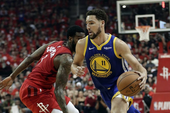 The Warriors said Thursday that Klay Thompson has suffered a torn right Achilles tendon and is expected to miss the upcoming season. Thompson was injured during a pickup game in Southern California the day before. [AP Photo/Eric Gay, File]