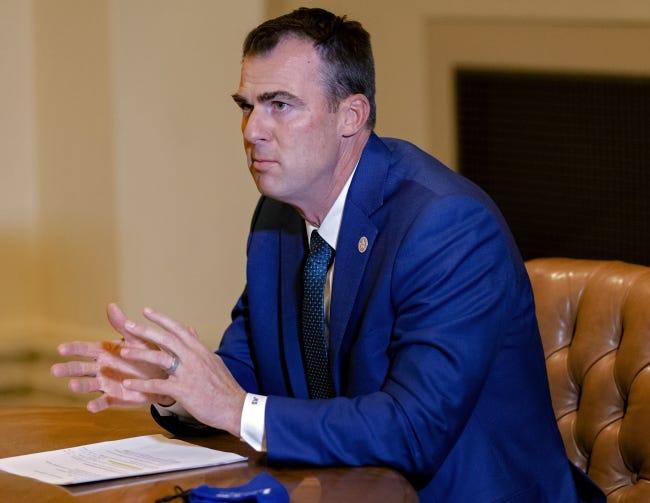 Gov. Kevin Stitt during a news conference Thursday. [Chris Landsberger/The Oklahoman]