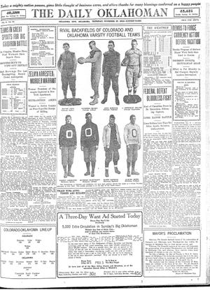 Just like today, nontraditional Thanksgiving celebrations in 1913 included talk of football. This November 1913 front page of The Daily Oklahoman previewed the Thanksgiving Day game between the University of Oklahoma and the University of Colorado. [THE OKLAHOMAN ARCHIVES]