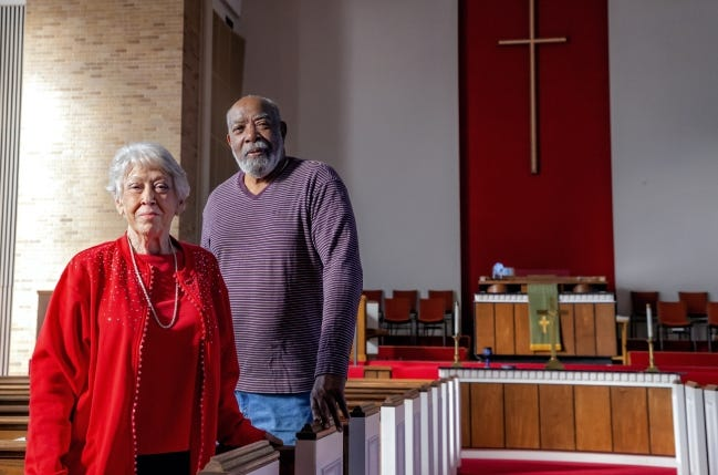 Central Presbyterian Church elders Bobbie Heimbach and Willie Adams stand in the church's sanctuary where a final worship service will be held on Sunday at 5101 N May. The church building has been sold and is expected to be torn down. [Chris Landsberger/The Oklahoman]