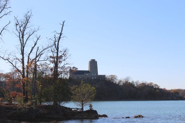 Tucker Tower is a historic landmark that can be seen while fishing on Lake Murray. [ED GODFREY/THE OKLAHOMAN]