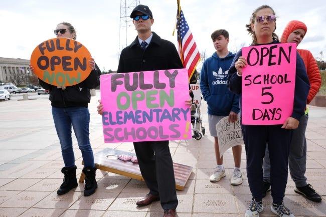 Members of Parent Voice Oklahoma rally at the state Capitol on Monday. [Doug Hoke/The Oklahoman]