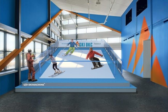 Simulated snow skiing is being added at Riversport park inside the White Water Center. [PROVIDED]