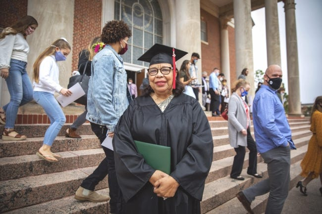 JoAnn Bowler, 81, poses for a photo after the 2020 winter commencement ceremony at Oklahoma Baptist University in Shawnee. [Kenny Day/OBU]