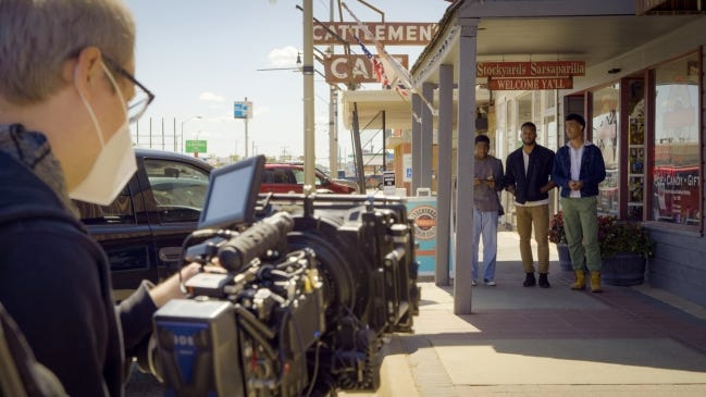 """A scene from """"Finding Carlos"""" is shown during filming at Cattlemen's in Oklahoma City. [Zachary Burns]"""