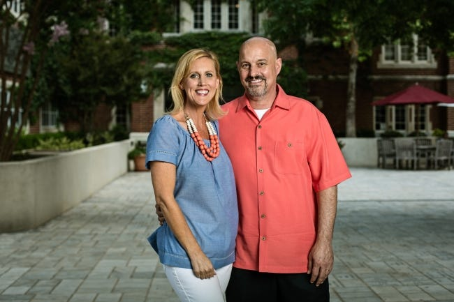 NormanþÄôs Mike Schuster recently marked five years since his diagnosis with glioblastoma, a brain cancer with an average life expectancy of 18 months. He was declared cancer-free in 2018, something he attributes to an experimental drug developed at the Oklahoma Medical Research Foundation. From left, Teresa and Mike Schuster.