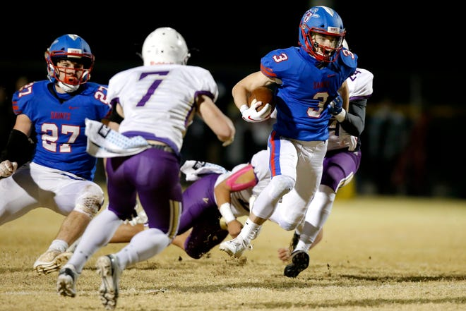 Oklahoma Christian School's Collin Matteson carries the ball during a high school football playoff game between Community Christian School and Oklahoma Christian School in Edmond, Friday, Nov. 27, 2020. [Bryan Terry/The Oklahoman]